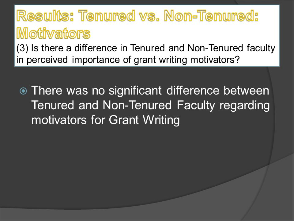  One statistically significant difference (p<.05) was found between Tenured and Non-Tenured faculty for heavy teaching load as a barrier to grant writing.
