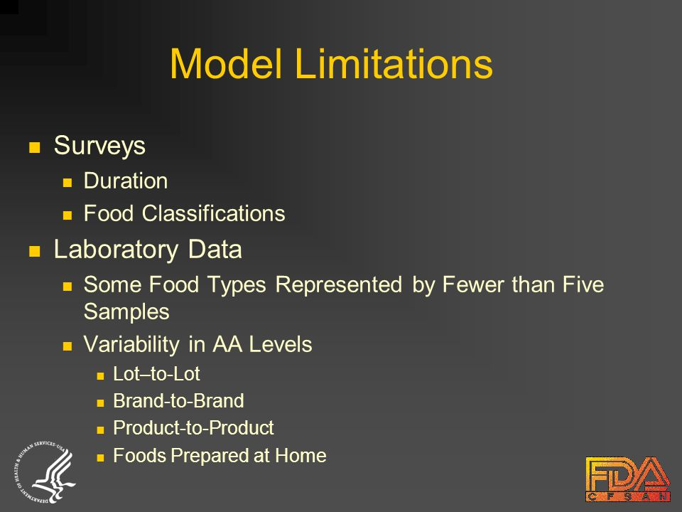 Model Limitations Surveys Duration Food Classifications Laboratory Data Some Food Types Represented by Fewer than Five Samples Variability in AA Levels Lot–to-Lot Brand-to-Brand Product-to-Product Foods Prepared at Home
