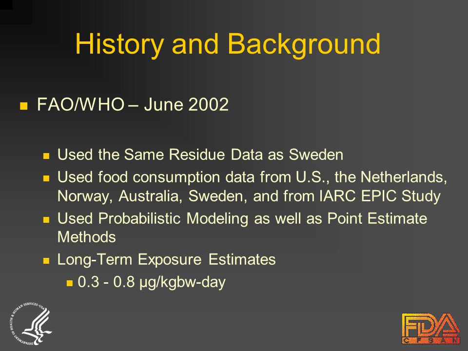 FAO/WHO – June 2002 Used the Same Residue Data as Sweden Used food consumption data from U.S., the Netherlands, Norway, Australia, Sweden, and from IARC EPIC Study Used Probabilistic Modeling as well as Point Estimate Methods Long-Term Exposure Estimates 0.3 - 0.8 µg/kgbw-day History and Background