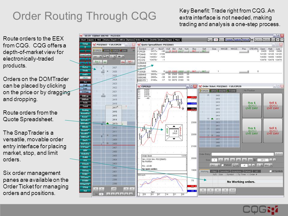 Order Routing Through CQG Route orders to the EEX from CQG.