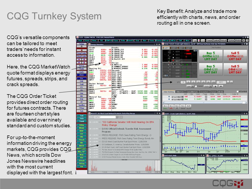 CQG Turnkey System CQG's versatile components can be tailored to meet traders' needs for instant access to information.