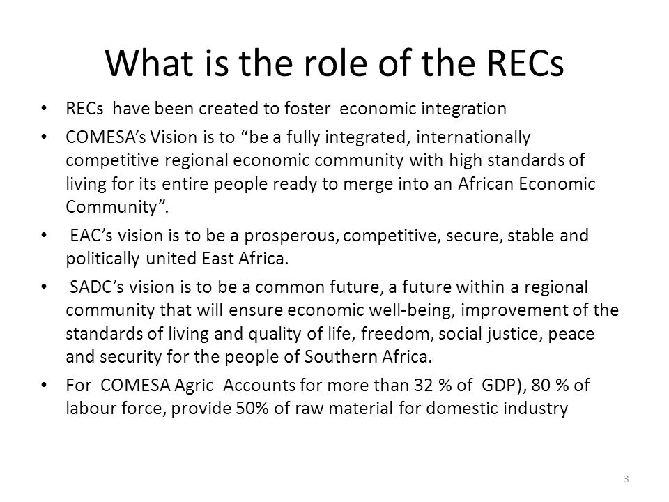 What is the role of the RECs RECs have been created to foster economic integration COMESA's Vision is to be a fully integrated, internationally competitive regional economic community with high standards of living for its entire people ready to merge into an African Economic Community .