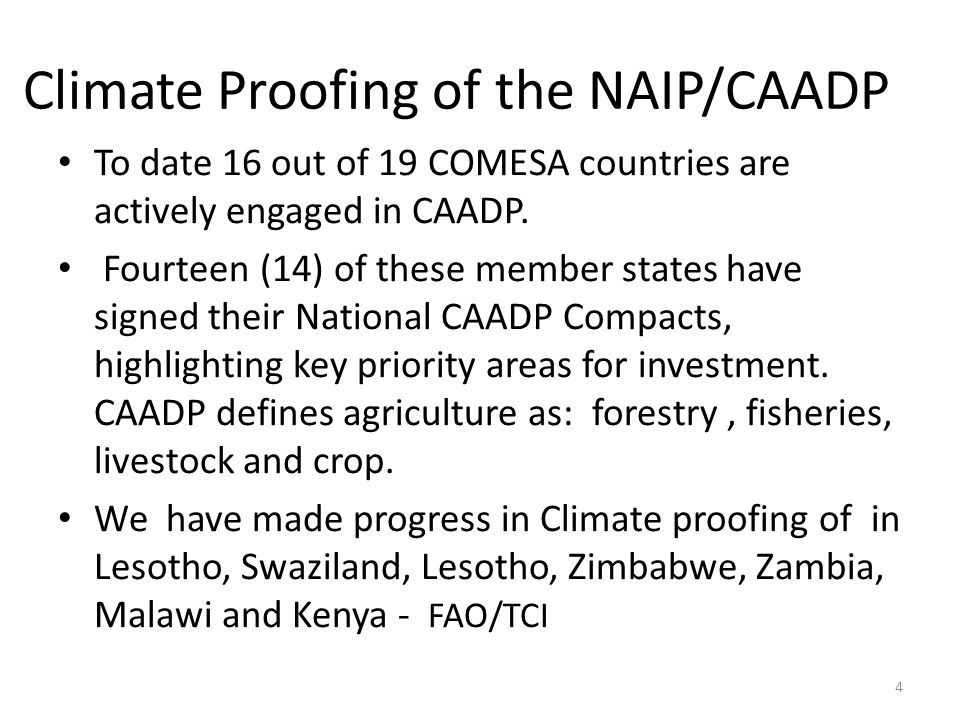 Climate Proofing of the NAIP cont' We have made progress in Climate proofing of in Lesotho, Swaziland, Lesotho, Zimbabwe, Zambia, Malawi and Kenya - FAO/TCI – screening of the CAADP Investment - An initial scoping phase to review CAADP investment plans to identify programmes adaptation and mitigation benefits; and – an in-depth analysis phase, including estimation of adaptation and mitigation potentials and identification of possible eligibility criteria for climate-smart programmes 5
