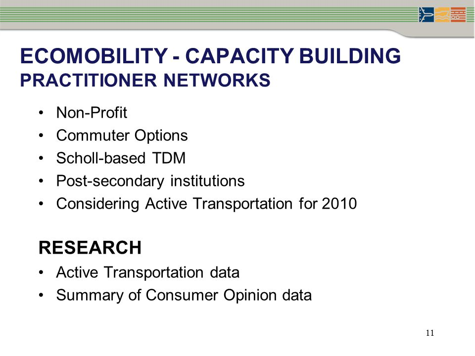 Non-Profit Commuter Options Scholl-based TDM Post-secondary institutions Considering Active Transportation for 2010 11 ECOMOBILITY - CAPACITY BUILDING PRACTITIONER NETWORKS RESEARCH Active Transportation data Summary of Consumer Opinion data