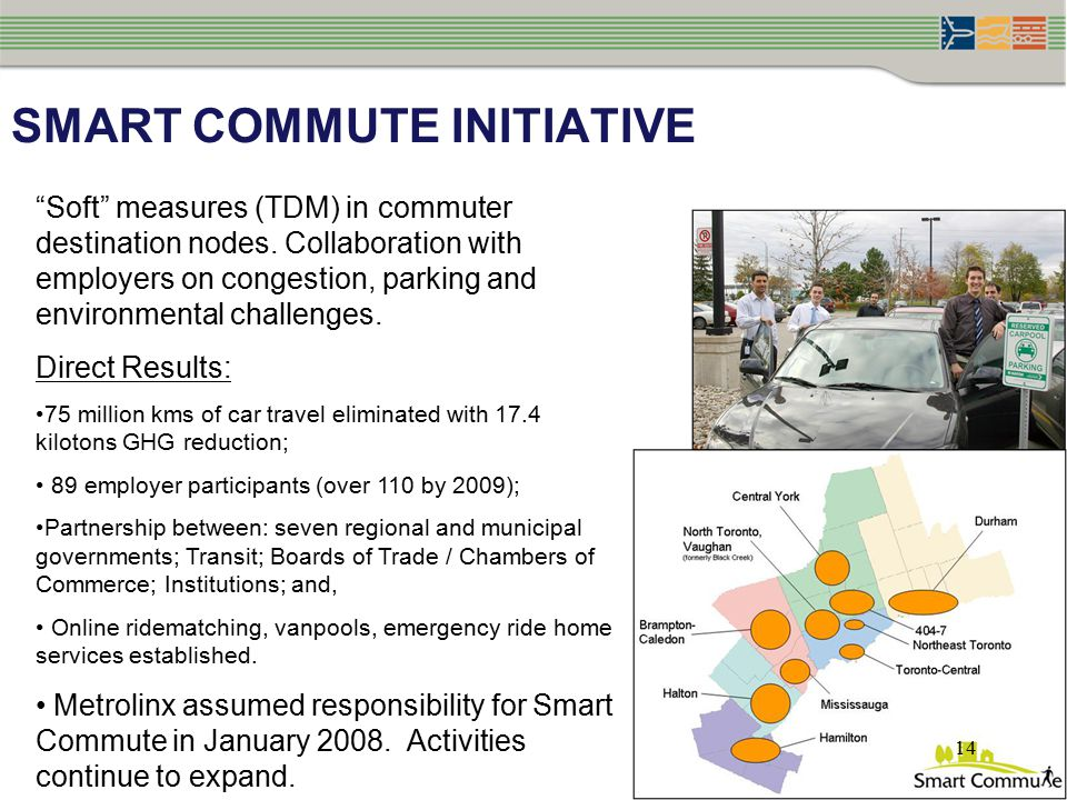 SMART COMMUTE INITIATIVE Soft measures (TDM) in commuter destination nodes.