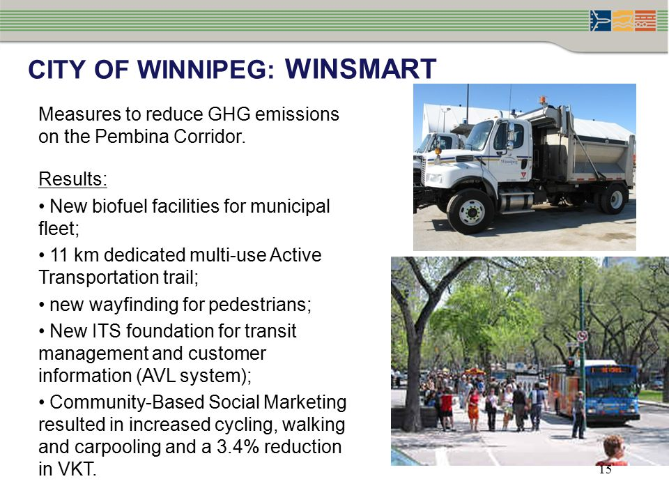 CITY OF WINNIPEG: WINSMART Measures to reduce GHG emissions on the Pembina Corridor.