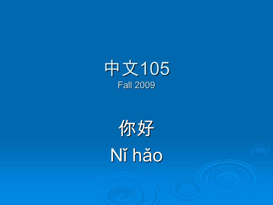 中文 105 Fall 2009 你好 Nǐ hǎo