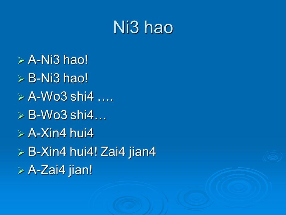 Ni3 hao  A-Ni3 hao.  B-Ni3 hao.  A-Wo3 shi4 ….