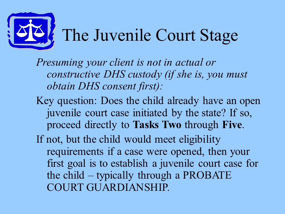 The Juvenile Court Stage Presuming your client is not in actual or constructive DHS custody (if she is, you must obtain DHS consent first): Key questi