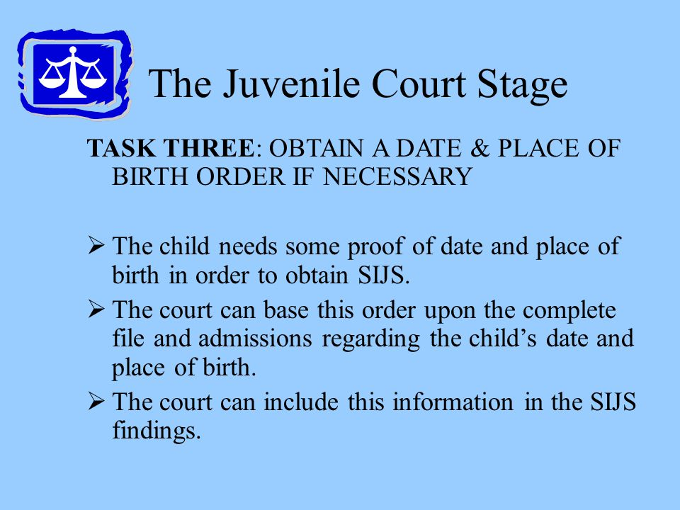 The Juvenile Court Stage TASK THREE: OBTAIN A DATE & PLACE OF BIRTH ORDER IF NECESSARY  The child needs some proof of date and place of birth in orde
