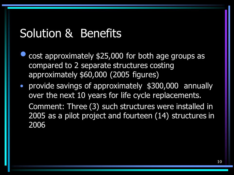 10 Solution & Benefits cost approximately $25,000 for both age groups as compared to 2 separate structures costing approximately $60,000 (2005 figures) provide savings of approximately $300,000 annually over the next 10 years for life cycle replacements.