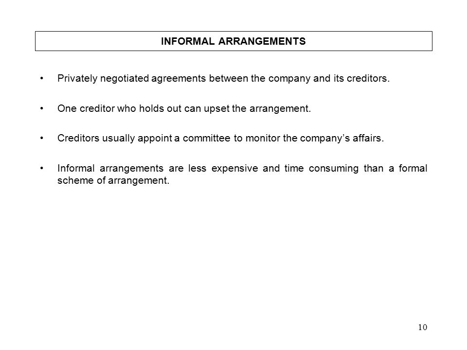 10 INFORMAL ARRANGEMENTS Privately negotiated agreements between the company and its creditors.