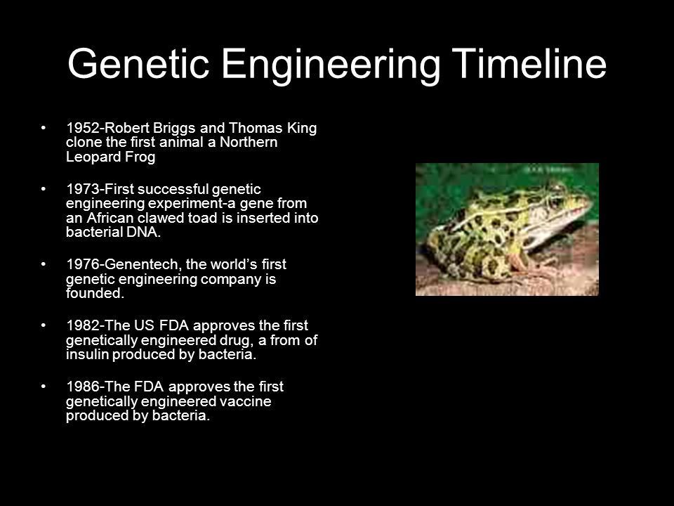 1,2 Genetic Engineering Timeline 1952-Robert Briggs and Thomas King clone the first animal a Northern Leopard Frog 1973-First successful genetic engineering experiment-a gene from an African clawed toad is inserted into bacterial DNA.