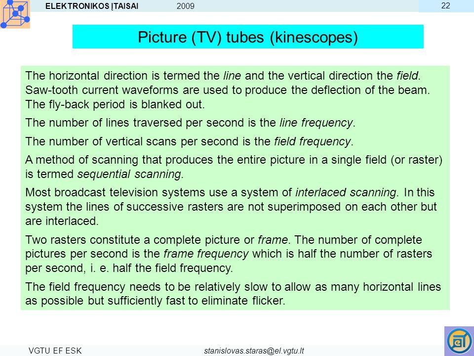 ELEKTRONIKOS ĮTAISAI 2009 VGTU EF ESKstanislovas.staras@el.vgtu.lt 22 Picture (TV) tubes (kinescopes) The horizontal direction is termed the line and
