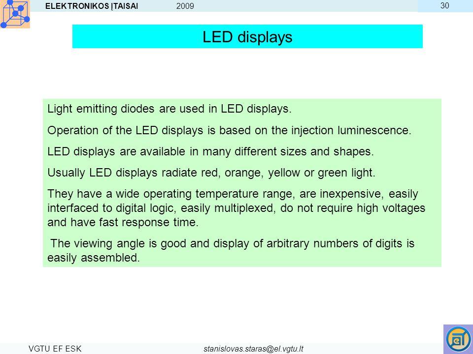 ELEKTRONIKOS ĮTAISAI 2009 VGTU EF ESKstanislovas.staras@el.vgtu.lt 30 LED displays Light emitting diodes are used in LED displays. Operation of the LE