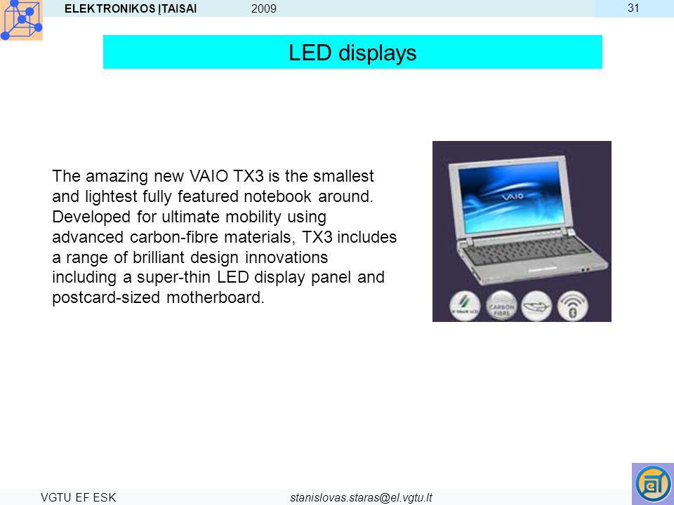 ELEKTRONIKOS ĮTAISAI 2009 VGTU EF ESKstanislovas.staras@el.vgtu.lt 31 The amazing new VAIO TX3 is the smallest and lightest fully featured notebook ar