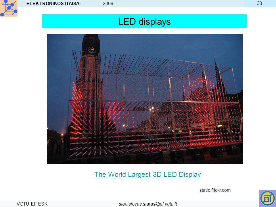 ELEKTRONIKOS ĮTAISAI 2009 VGTU EF ESKstanislovas.staras@el.vgtu.lt 33 LED displays The World Largest 3D LED Display static.flickr.com