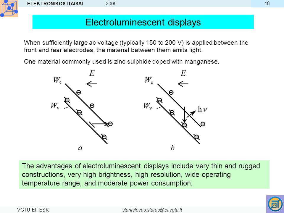 ELEKTRONIKOS ĮTAISAI 2009 VGTU EF ESKstanislovas.staras@el.vgtu.lt 48 The advantages of electroluminescent displays include very thin and rugged const