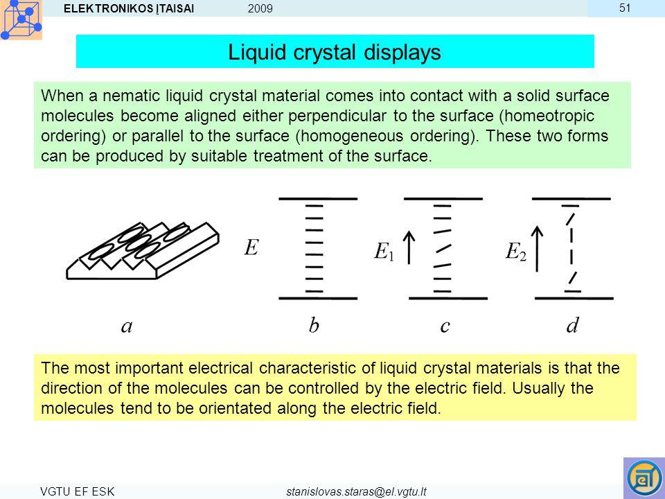 ELEKTRONIKOS ĮTAISAI 2009 VGTU EF ESKstanislovas.staras@el.vgtu.lt 51 Liquid crystal displays When a nematic liquid crystal material comes into contac