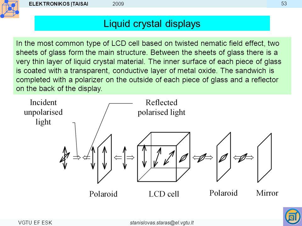 ELEKTRONIKOS ĮTAISAI 2009 VGTU EF ESKstanislovas.staras@el.vgtu.lt 53 Liquid crystal displays In the most common type of LCD cell based on twisted nem