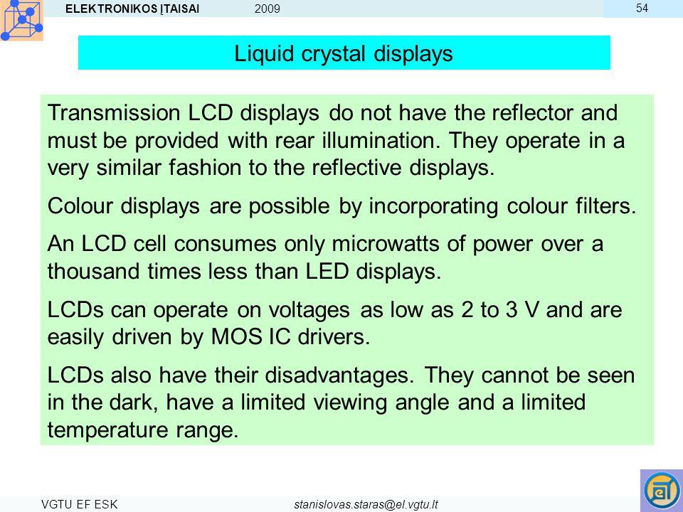 ELEKTRONIKOS ĮTAISAI 2009 VGTU EF ESKstanislovas.staras@el.vgtu.lt 54 Liquid crystal displays Transmission LCD displays do not have the reflector and