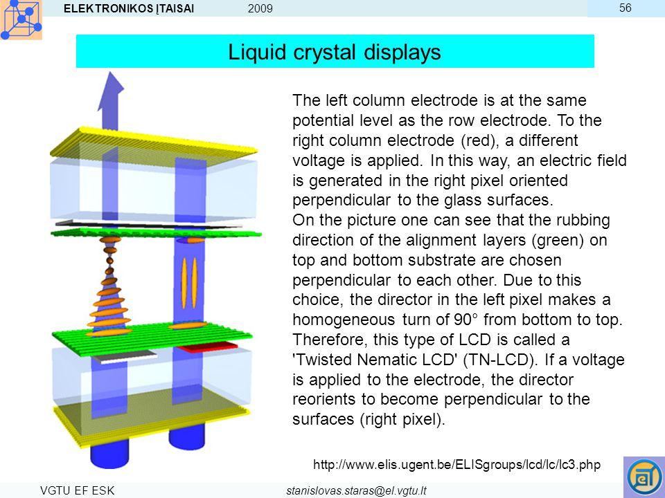 ELEKTRONIKOS ĮTAISAI 2009 VGTU EF ESKstanislovas.staras@el.vgtu.lt 56 The left column electrode is at the same potential level as the row electrode. T