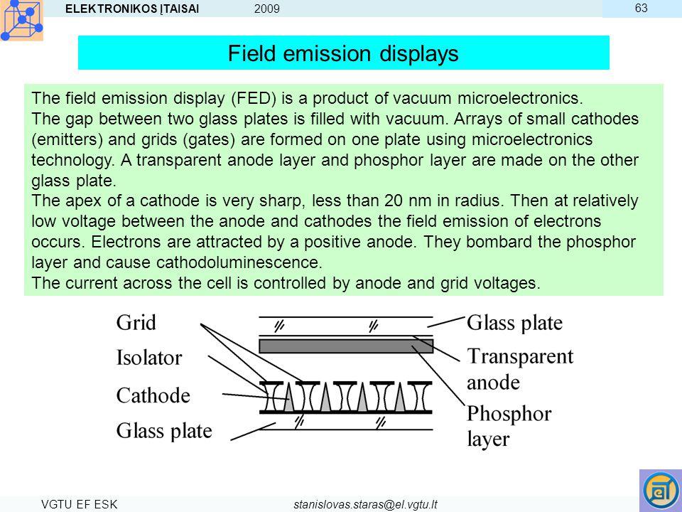 ELEKTRONIKOS ĮTAISAI 2009 VGTU EF ESKstanislovas.staras@el.vgtu.lt 63 Field emission displays The field emission display (FED) is a product of vacuum