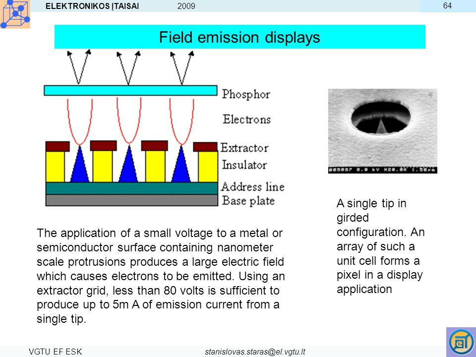 ELEKTRONIKOS ĮTAISAI 2009 VGTU EF ESKstanislovas.staras@el.vgtu.lt 64 The application of a small voltage to a metal or semiconductor surface containin