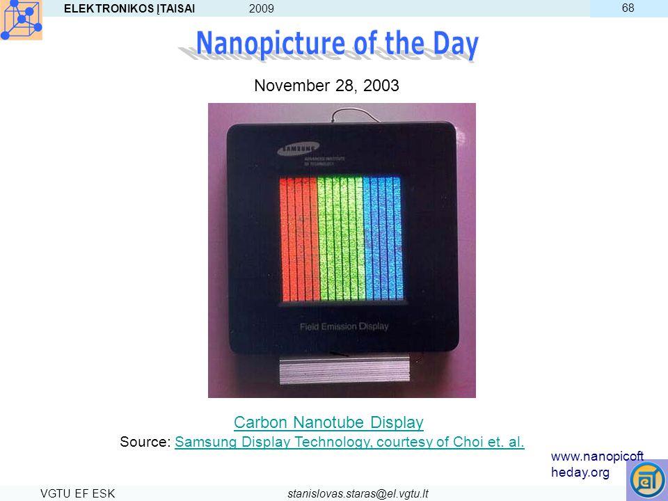ELEKTRONIKOS ĮTAISAI 2009 VGTU EF ESKstanislovas.staras@el.vgtu.lt 68 November 28, 2003 Carbon Nanotube Display Source: Samsung Display Technology, co
