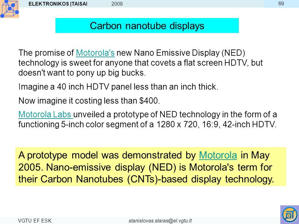 ELEKTRONIKOS ĮTAISAI 2009 VGTU EF ESKstanislovas.staras@el.vgtu.lt 69 The promise of Motorola's new Nano Emissive Display (NED) technology is sweet fo