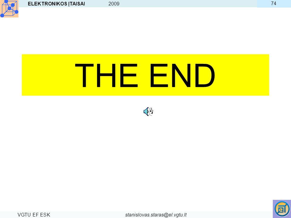 ELEKTRONIKOS ĮTAISAI 2009 VGTU EF ESKstanislovas.staras@el.vgtu.lt 74 THE END