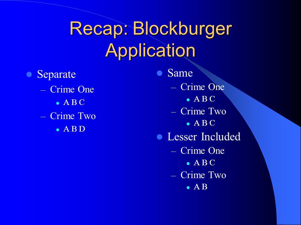Recap: Blockburger Application Separate – Crime One A B C – Crime Two A B D Same – Crime One A B C – Crime Two A B C Lesser Included – Crime One A B C – Crime Two A B