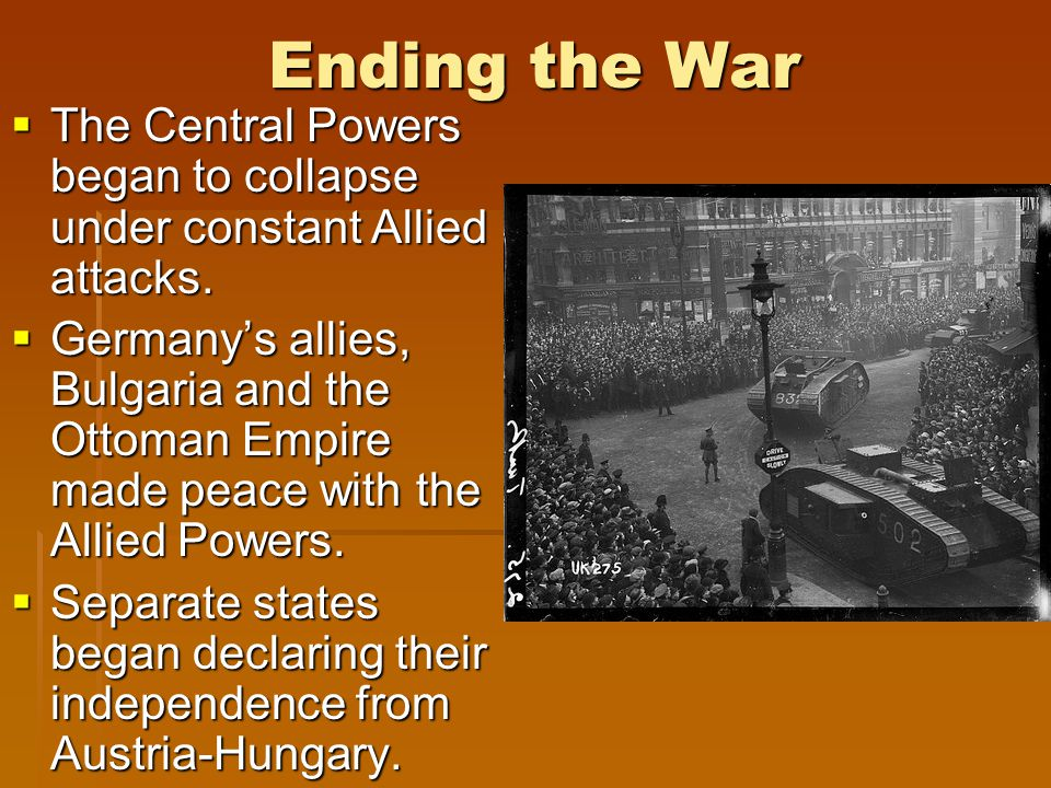 End of WWI  Germany surrenders - November 11, 1918  Germany's leader steps down and establishes a provisional government