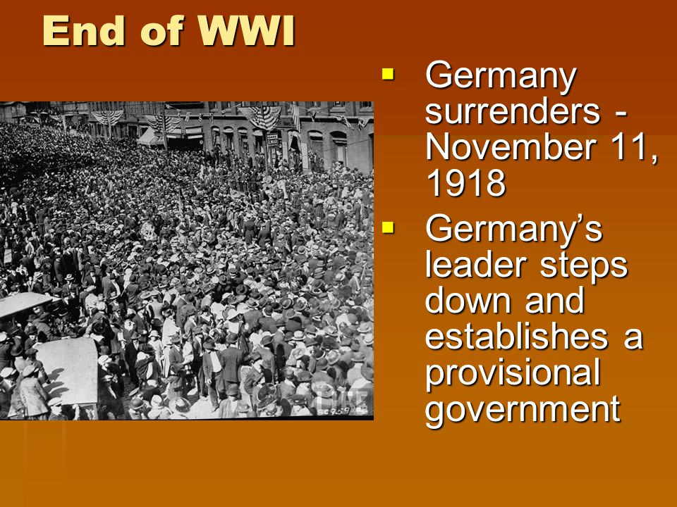 End of WWI  Extremely high death toll.