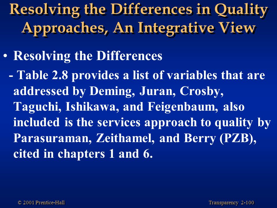Transparency 2-100 © 2001 Prentice-Hall Resolving the Differences in Quality Approaches, An Integrative View Resolving the Differences - Table 2.8 provides a list of variables that are addressed by Deming, Juran, Crosby, Taguchi, Ishikawa, and Feigenbaum, also included is the services approach to quality by Parasuraman, Zeithamel, and Berry (PZB), cited in chapters 1 and 6.