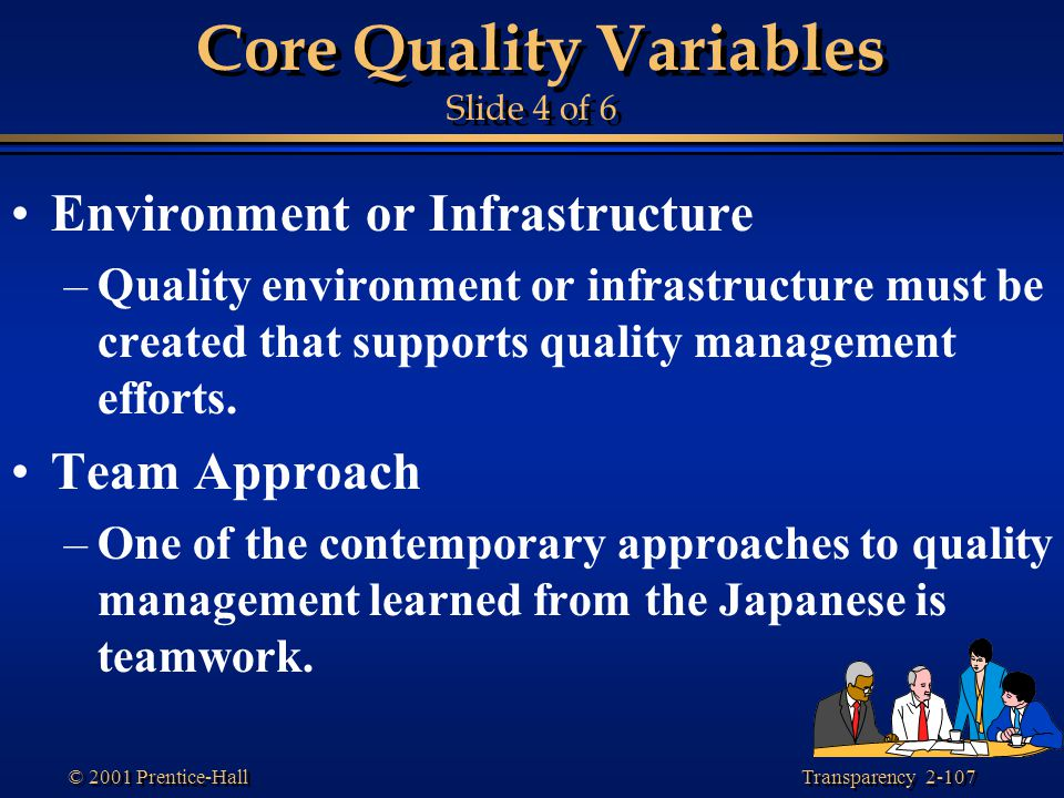 Transparency 2-107 © 2001 Prentice-Hall Core Quality Variables Slide 4 of 6 Environment or Infrastructure –Quality environment or infrastructure must be created that supports quality management efforts.
