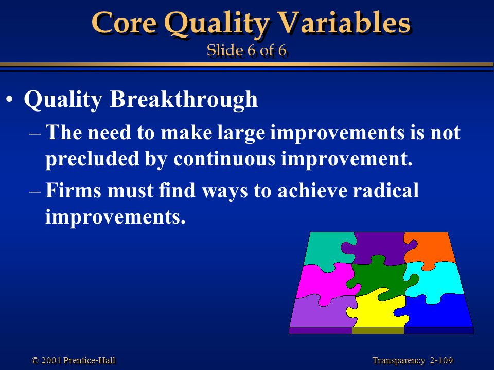 Transparency 2-109 © 2001 Prentice-Hall Core Quality Variables Slide 6 of 6 Quality Breakthrough –The need to make large improvements is not precluded by continuous improvement.