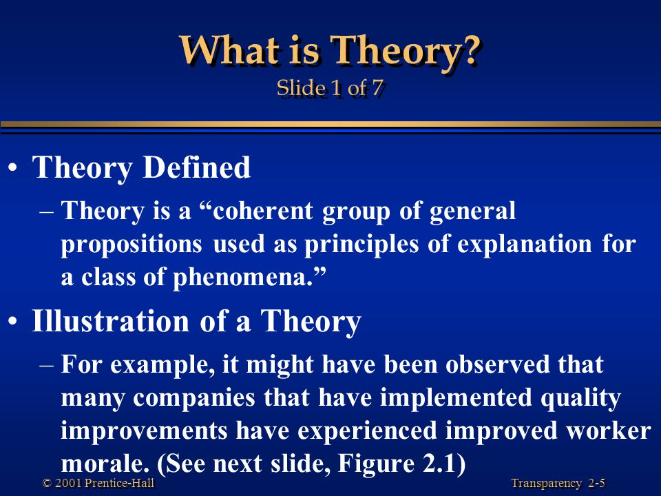 Transparency 2-5 © 2001 Prentice-Hall What is Theory.