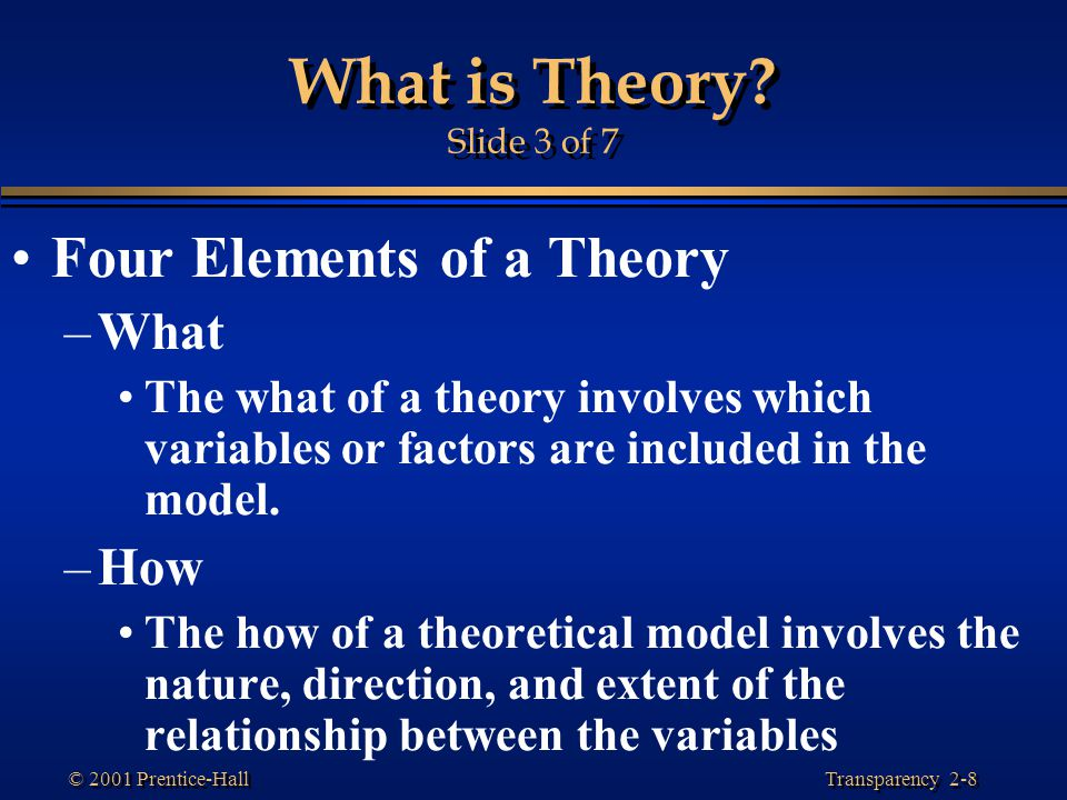 Transparency 2-8 © 2001 Prentice-Hall What is Theory.