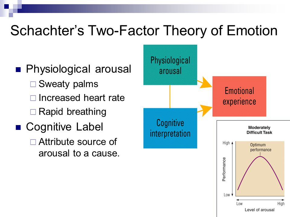 7 Schachter's Two-Factor Theory of Emotion Physiological arousal  Sweaty palms  Increased heart rate  Rapid breathing Cognitive Label  Attribute source of arousal to a cause.