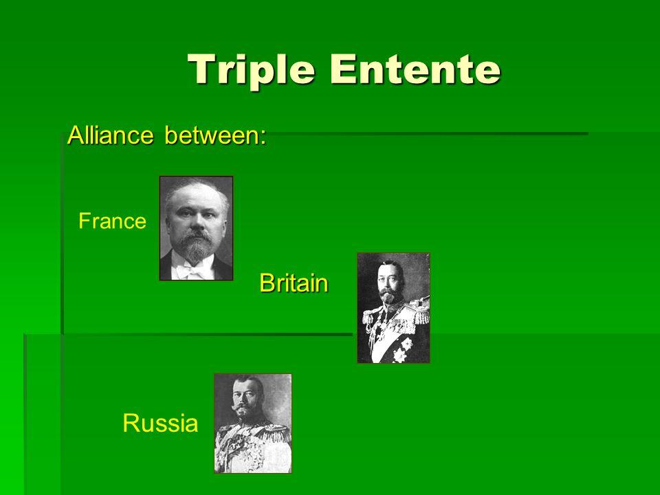 Triple Entente Triple Entente Alliance between: Britain Britain Russia France
