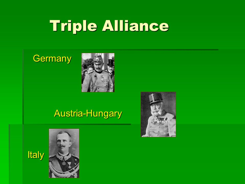 Triple Entente Triple Entente Alliance between: Britain Britain Russia France