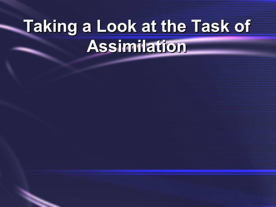 Taking a Look at the Task of Assimilation