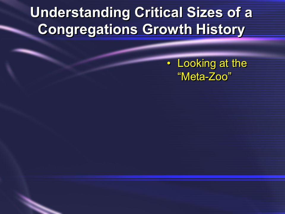Understanding Critical Sizes of a Congregations Growth History Looking at the Meta-Zoo