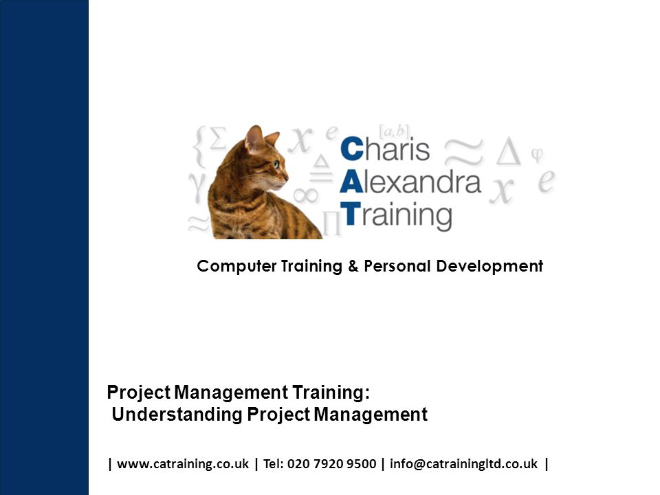 | www.catraining.co.uk | Tel: 020 7920 9500 | info@catrainingltd.co.uk | Computer Training & Personal Development Project Management Training: Understanding Project Management