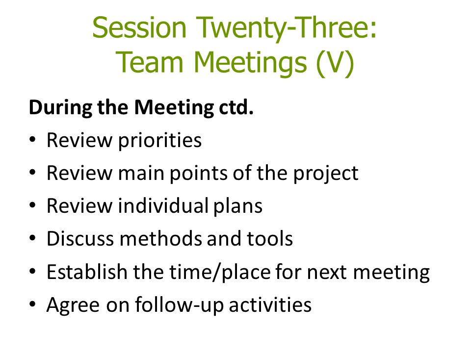 Session Twenty-Three: Team Meetings (V) During the Meeting ctd. Review priorities Review main points of the project Review individual plans Discuss me