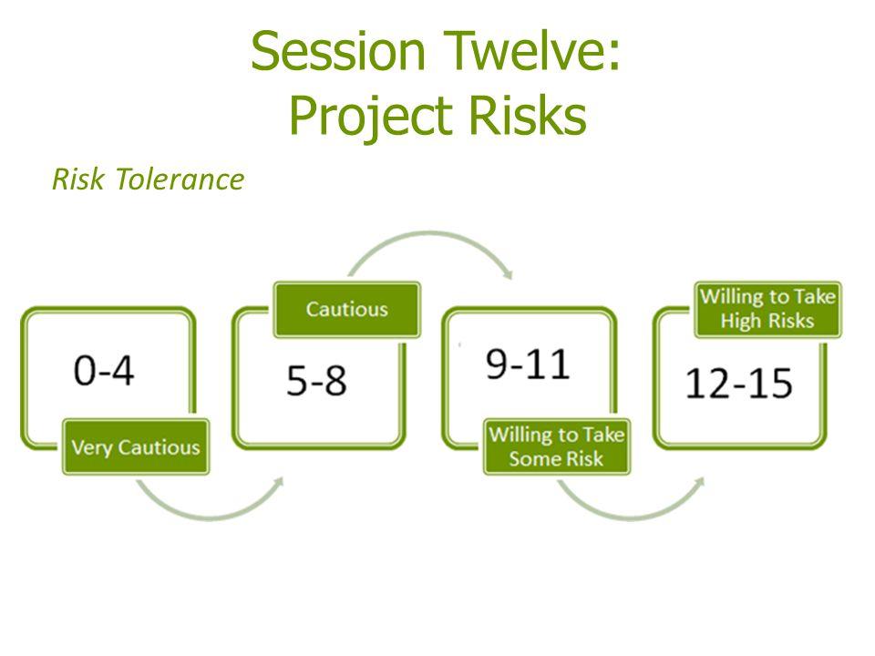 Session Twelve: Project Risks Risk Tolerance