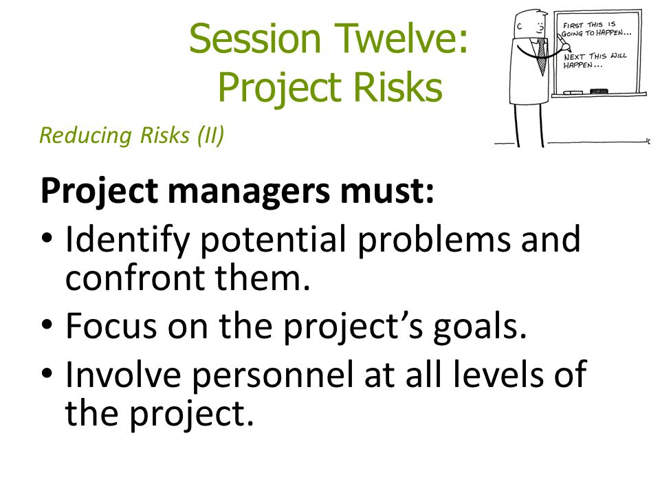 Session Twelve: Project Risks Project managers must: Identify potential problems and confront them.