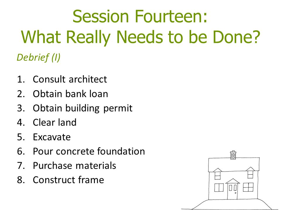 Session Fourteen: What Really Needs to be Done? 1.Consult architect 2.Obtain bank loan 3.Obtain building permit 4.Clear land 5.Excavate 6.Pour concret