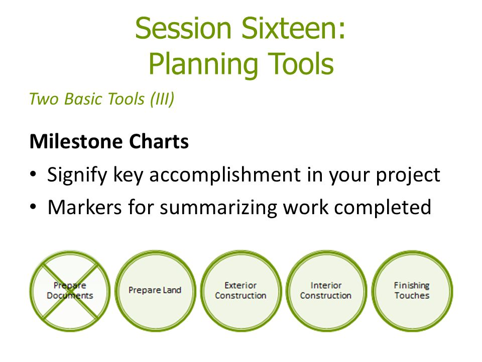 Session Sixteen: Planning Tools Milestone Charts Signify key accomplishment in your project Markers for summarizing work completed Two Basic Tools (III)